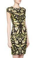 McQ by Alexander McQueen Floralprint Stretch Dress Yellowbeige - Lyst