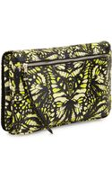 McQ by Alexander McQueen Butterfly Print Glazed Leather Clutch Bag Yellowmintkhaki - Lyst