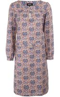 A.P.C. Red Agathe Liberty Heart Print Belted Cotton Dress - Lyst