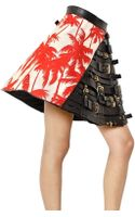 Fausto Puglisi Leather Buckles Printed Silk Twill Skirt - Lyst