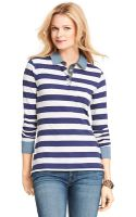 Tommy Hilfiger Chambray Trim Rugby - Lyst