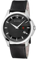 Gucci Mens Black Strap Black Dial Watch - Lyst