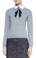 Alice + Olivia Ribbon Bow Knit Sweater Grey Alice Olivia - Lyst