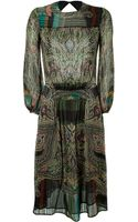Etro Silk Metallic Dress - Lyst