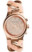 Michael Kors Womens Chronograph Runway Twist Blush and Rose Goldtone Stainless Steel Bracelet Watch 34mm - Lyst