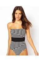 Asos Stripe Belted Swimsuit - Lyst