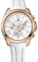 Tommy Hilfiger Womens White Silicone Strap Watch 42mm - Lyst