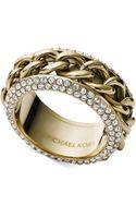 Michael Kors Goldtone Clear Pavé Frozen Curb Chain Ring - Lyst