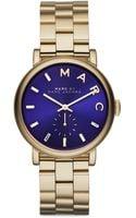 Marc By Marc Jacobs Baker Goldtone Stainless Steel Bracelet Watchblue - Lyst