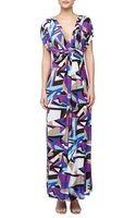 T-bags Geometric Print Mirrored V Maxi Dress - Lyst
