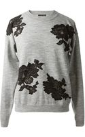 Lanvin Light Grey Wool Knitwear with Black Lace Flowers Embroideries - Lyst