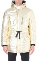 Moschino Metallic Quilted Parka Jacket Gold - Lyst