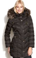 Kenneth Cole Reaction Hooded Faux-fur-trim Quilted Down Puffer Coat - Lyst