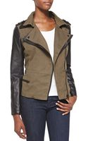 Cusp Faux-leather Combo Moto Jacket Olive Xs - Lyst