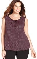Jones New York Collection Plus Size Sleeveless Dotprint Top - Lyst