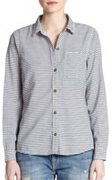 Current/Elliott The Slim Striped Cotton Shirt - Lyst