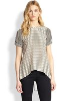 BCBGMAXAZRIA Catherina Silk Striped Splitback Top - Lyst