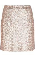 River Island Gold Sequin Mini Skirt - Lyst