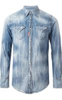 DSquared2 Washed- Out Denim Shirt - Lyst