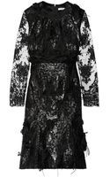 Erdem Bobin Embellished Faux Leather and Lace Dress - Lyst