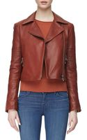 J Brand Aiah Zipfront Leather Jacket Raw Sienna Large10 - Lyst