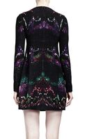 Alexander McQueen Long Sleeve Featherprint Shift Dress Multicolor - Lyst