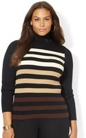Lauren by Ralph Lauren Plus Ombrã Striped Turtleneck Sweater - Lyst