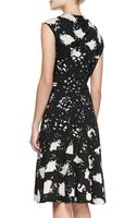 Tracy Reese Capsleeve Printed Side Pullneck Dress - Lyst