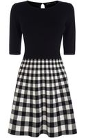 Karen Millen Graphic Check Knit Dress - Lyst