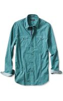 Banana Republic Slim Fit Optic Check Utility Shirt Navy - Lyst