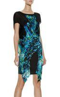 BCBGMAXAZRIA Runway Printed Colorblocked Jersey Dress - Lyst