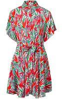 Kenzo Silk Printed Shirtdress - Lyst