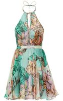 Matthew Williamson Escape Flamingo Bay Print Silk Halter Neck Dress - Lyst