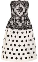 Oscar de la Renta Embellished Lace and Silk Faille Dress - Lyst