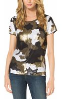 Michael Kors Michael Camouflage Pattern Sequined Top - Lyst