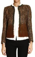 Alberta Ferretti Jackets Without Collar Boucle with Fibrebonded Band On The Bottom - Lyst