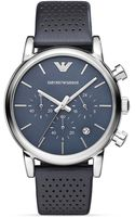 Emporio Armani Luigi Perforated Leather Strap Watch 41mm - Lyst