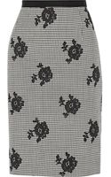 Oscar de la Renta Houndstooth Wool and Silkblend Skirt - Lyst