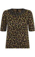 St. John Leopard Knit Embellished Top - Lyst