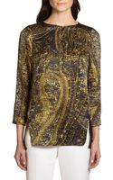 Lafayette 148 New York Paisleyprint Silk Satin Blouse - Lyst