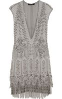 Roberto Cavalli Embellished Fringed Silk Mini Dress - Lyst
