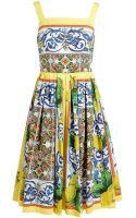Dolce & Gabbana Tile Print Flared Dress - Lyst