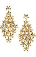 R.j. Graziano Golden Rhinestone Flower Earrings - Lyst