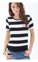 Love 21 Broad Stripe Knit Tee - Lyst