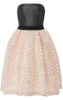 Monique Lhuillier Coral Metallic Matelasse Dress with Noir Waffle Weave Bodice - Lyst