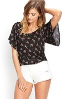 Forever 21 Polka Dot Floral Tee - Lyst