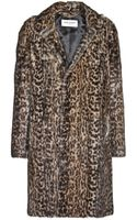 Saint Laurent Leopardprint Marmot Fur Coat - Lyst