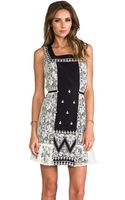 Anna Sui Zig Zag Applique Dress in Black - Lyst