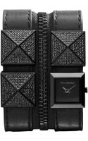 Karl Lagerfeld Womens Black Ionplated Stainless Steel Stud and Black Leather Double   Strap Watch 18mm - Lyst