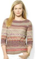 Lauren by Ralph Lauren Plus Size Fairisle Sweater - Lyst